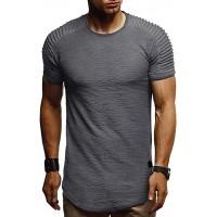 Kolila Herren T-Shirts Tops mit einzigartigem Plissee-Design Casual Sommer Slim Fit Unregelmäßiger Rand Kurzarm T-Shirt für Männer Bekleidung
