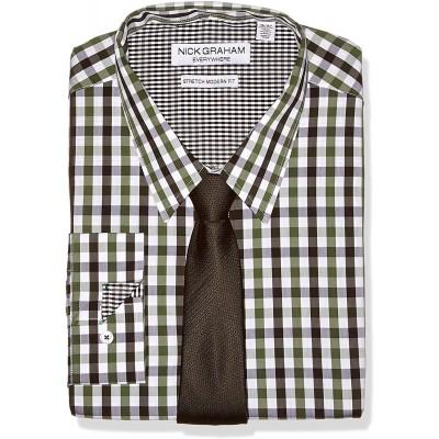 Nick Graham Herren Stretch Modern Fit Mini Check Dress Shirt and Solid Tie Set Button Down Hemd Bekleidung