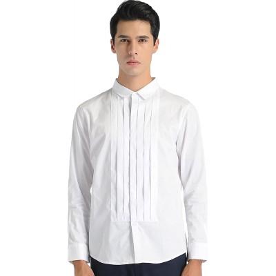 SSLR Herren Normal Fit Smoking Hemd X-Large Weiß Bekleidung