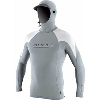 O'Neill Herren Premium Skins O'zone UPF 50+ Langarm Sonnenshirt mit Kapuze kühles Grau Weiß Größe XL Bekleidung