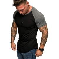 Amaci&Sons Oversize Doppel Farbig Herren Slim-Fit Crew Neck Basic T-Shirt Rundhals 1-0015 Bekleidung