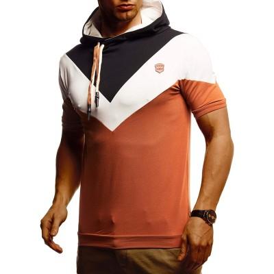 Leif Nelson Herren Sommer T-Shirt mit Kapuze Slim Fit Basic Baumwolle-Anteil | Basic Männer Kapuzenshirt Vintage | Jungen Kurzarmshirt Hoodie-Sweatshirt Kurzarm lang | LN4845 Bekleidung