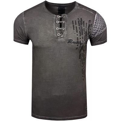 T-Shirt Rundhals Oil Wash Herren Kurzarm Shirt Verwaschen Stretch S - XXL 6784 Bekleidung