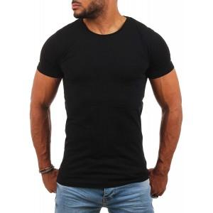 Young & Rich Herren Uni Basic T-Shirt mit Rundhals Ausschnitt einfarbig Round Neck Tee Stretch körperbetonte Dehnbare Passform Bekleidung