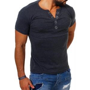 Young & Rich Herren Uni feinripp T-Shirt mit Knopfleiste & tiefem Ausschnitt deep V-Neck einfarbig Big Buttons große Knöpfe 1872 Bekleidung