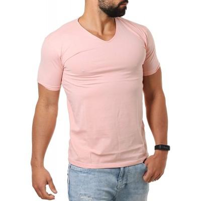 Young & Rich Herren V-Ausschnitt T-Shirt einfarbig körperbetont mit Stretchanteilen Uni Basic V-Neck Tee Bekleidung