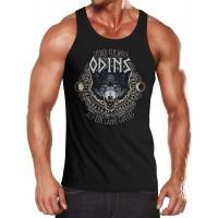 MoonWorks Herren Tanktop Lieber EIN Wolf Odins als EIN Lamm Gotte Muskelshirt Tank Top Muscle Shirt Achselshirt Bekleidung