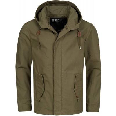 Indicode Herren Lough Jacke mit Kapuze aus 100% Baumwolle   Herrenjacke Markenjacke Outdoorjacke Baumwolljacke Kapuzenjacke Men's Jacket Übergangsjacke Freizeitjacke für Männer Bekleidung