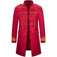 AmyGline Steampunk Herren Mantel Vintage Frack Jacke Gothic Smocking Gehrock Stehkragen Anzug Abendkleid Uniform Gestickter Knopf Mäntel Cosplay Kostüm Bekleidung