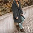 BJHIOJ Kunstpelz Teddy Mantel Revers Maxi Volle Hülse Winter Warme Pelzjacke Langer Mantel Parka Oberbekleidung Für Frauen Männer Bekleidung