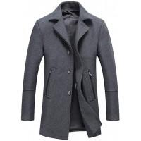 Mallimoda Herren Herbst Mantel Slim Fit Business Wollmantel Lange Windbreaker Jacken Grau L Bekleidung