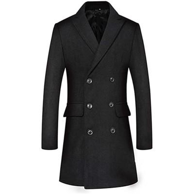 OJKYK Herren Mantel Slim Fit Winter zweireihig Wolle Overcoat Casual Trenchcoat Business Jacke Schwarz M Bekleidung