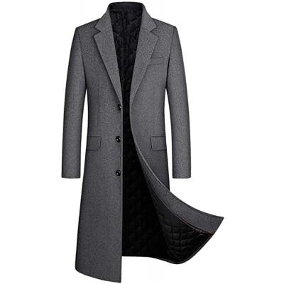 OJKYK Wintermantel Herren Lang Wolle Mantel Slim Fit Zweireihig Revers Herrenmantel Business Baumwolle Mantel Wollmantel Bekleidung