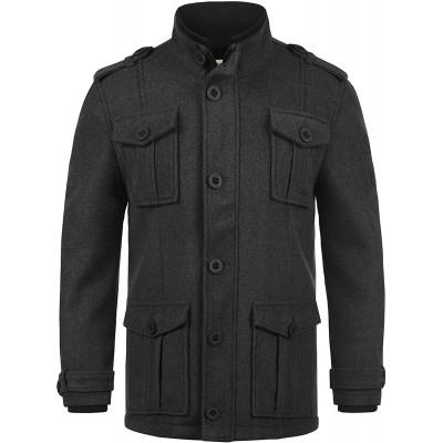 Redefined Rebel Montana Herren Mantel Wollmantel Winterjacke mit Stehkragen Bekleidung